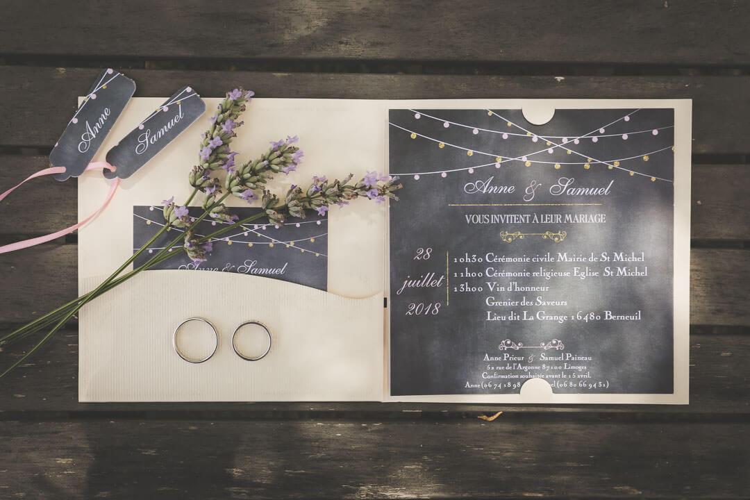 Alliance Faire-part de mariage avec lavande