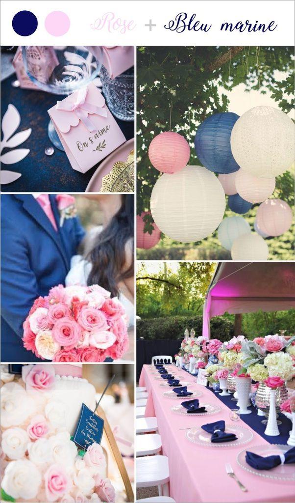Bleu marine et rose poudré Quelle couleurs pour le thèmes de votre-mariage-tendance-bleu-mar
