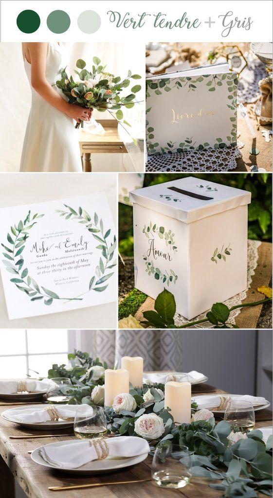 Du vert au gris Quelle couleurs pour le thèmes de votre-mariage-tendance-vert-euc